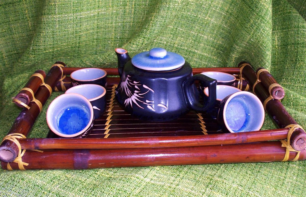 Čajová keramická souprava Vietnam Chinh 400 ml s podnosem
